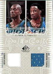 2002-03 SP Game Used Authentic Fabrics Dual #KGTBJ Kevin Garnett/Terrell Brandon