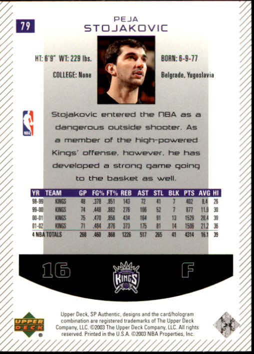 2002-03 SP Authentic #79 Peja Stojakovic back image