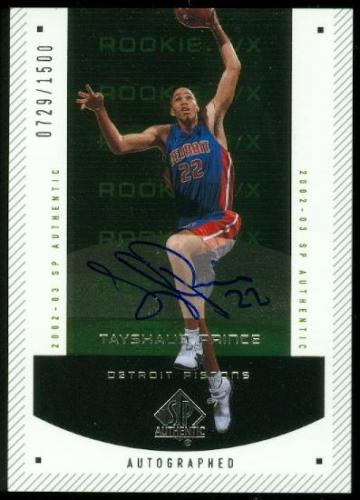 2002-03 SP Authentic #164 Tayshaun Prince AU RC