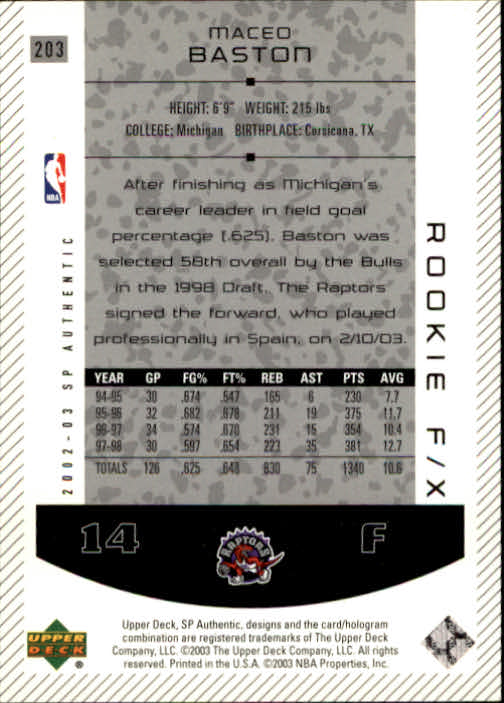 2002-03 SP Authentic #203 Maceo Baston RC back image