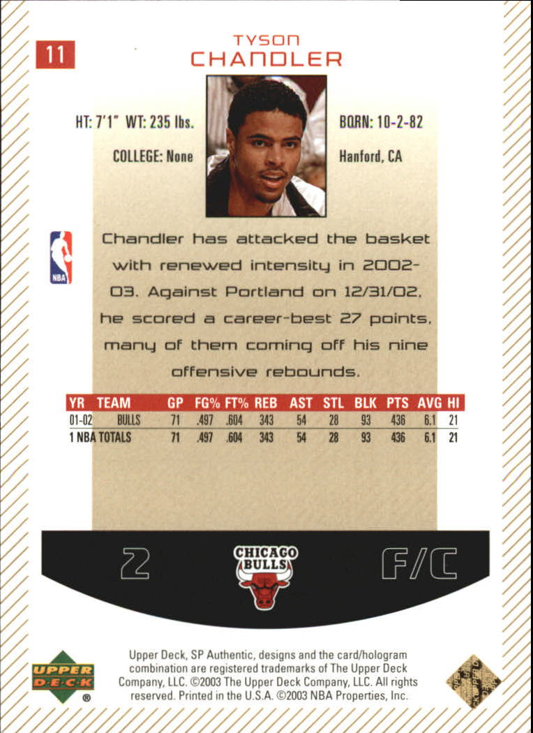 2002-03 SP Authentic Limited #11 Tyson Chandler back image