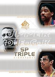 2002-03 SP Authentic SP Triple Signatures #DRBRKA Kareem Abdul-Jabbar/Julius Erving/Bill Russell