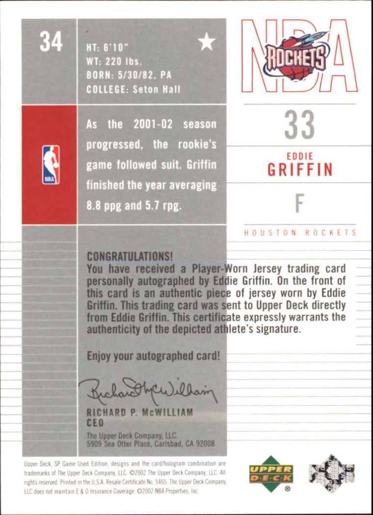 2002-03 SP Game Used Autographed Jerseys #34 Eddie Griffin back image