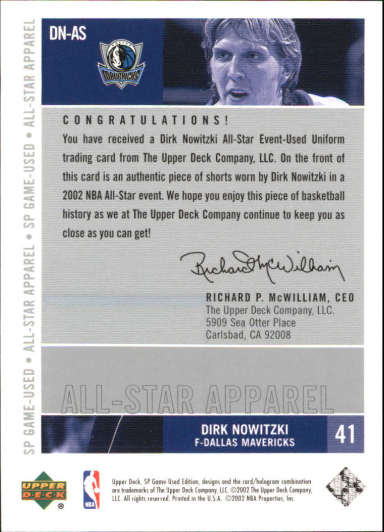 2002-03 SP Game Used All-Star Apparel #DNAS Dirk Nowitzki back image