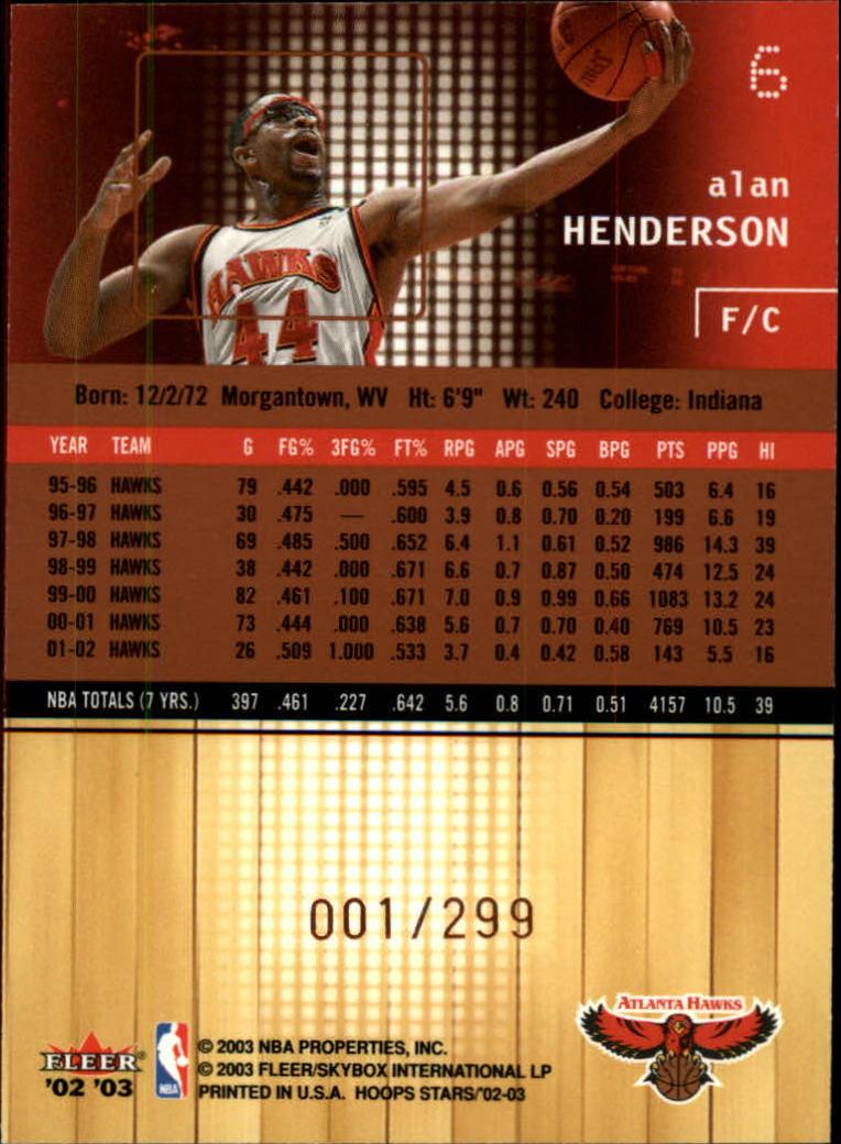 2002-03 Hoops Stars Five-Star #6 Alan Henderson back image