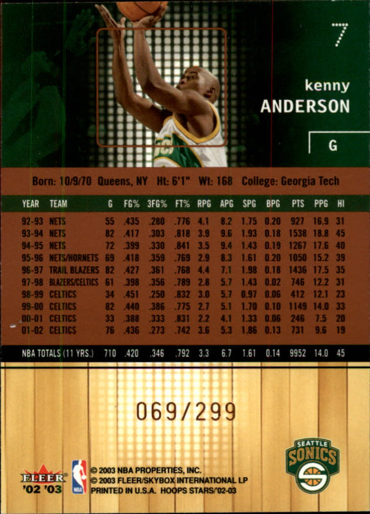2002-03 Hoops Stars Five-Star #7 Kenny Anderson back image