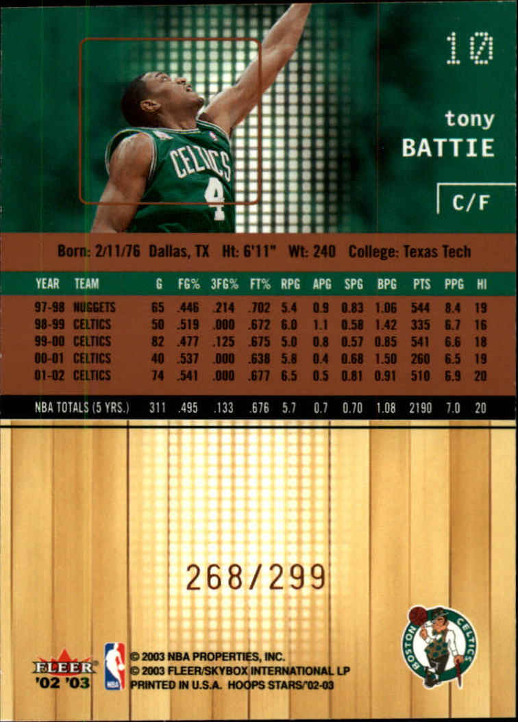 2002-03 Hoops Stars Five-Star #10 Tony Battie back image