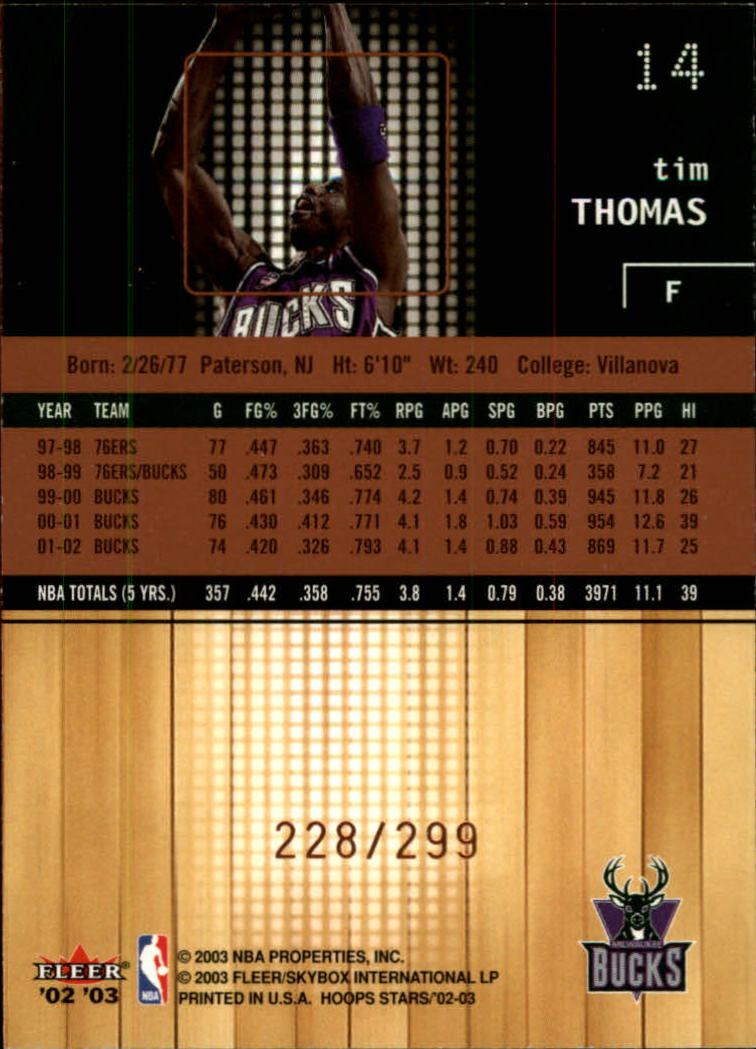 2002-03 Hoops Stars Five-Star #14 Tim Thomas back image