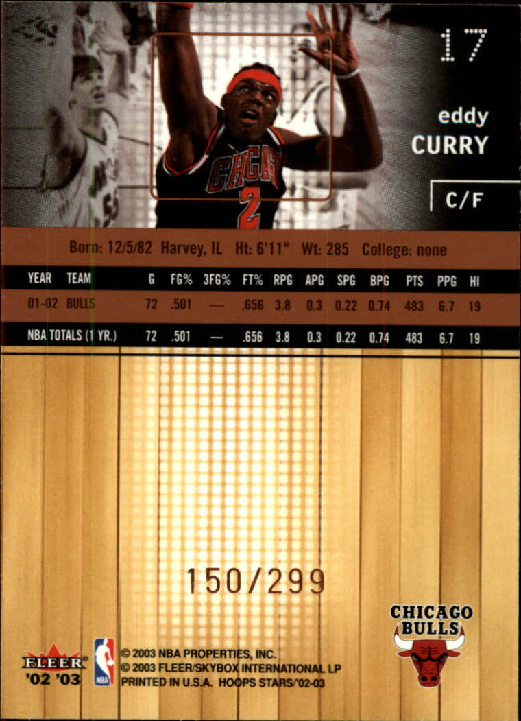 2002-03 Hoops Stars Five-Star #17 Eddy Curry back image