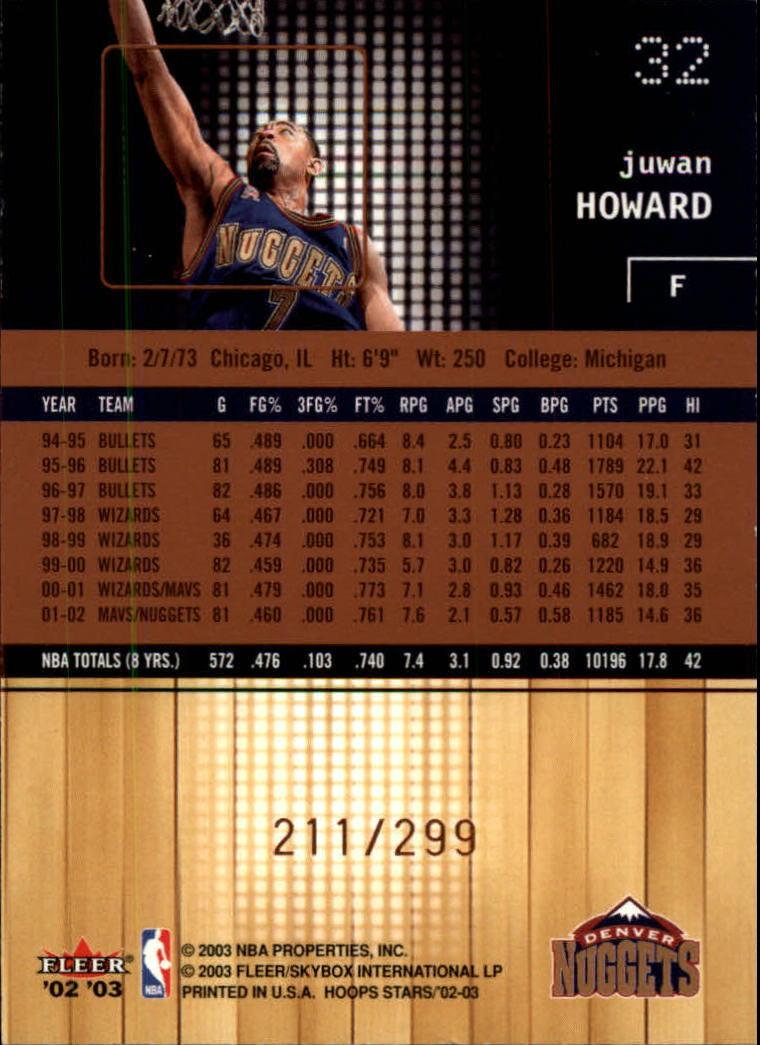 2002-03 Hoops Stars Five-Star #32 Juwan Howard back image