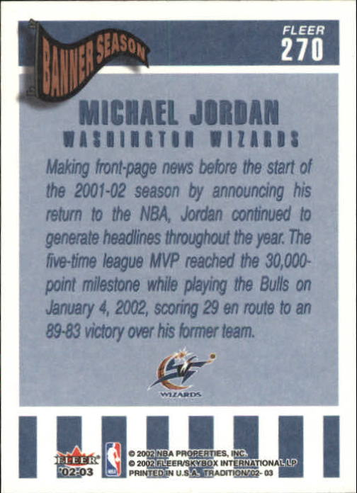 2002-03 Fleer Tradition #270 Michael Jordan back image