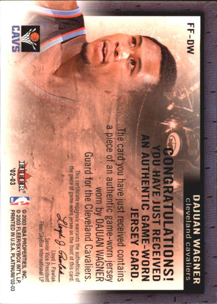 2002-03 Fleer Platinum Freshman Fabric #DG Drew Gooden back image