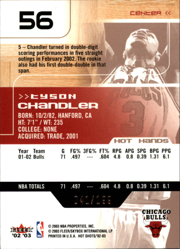 2002-03 Fleer Hot Shots Hot Hands #56 Tyson Chandler back image