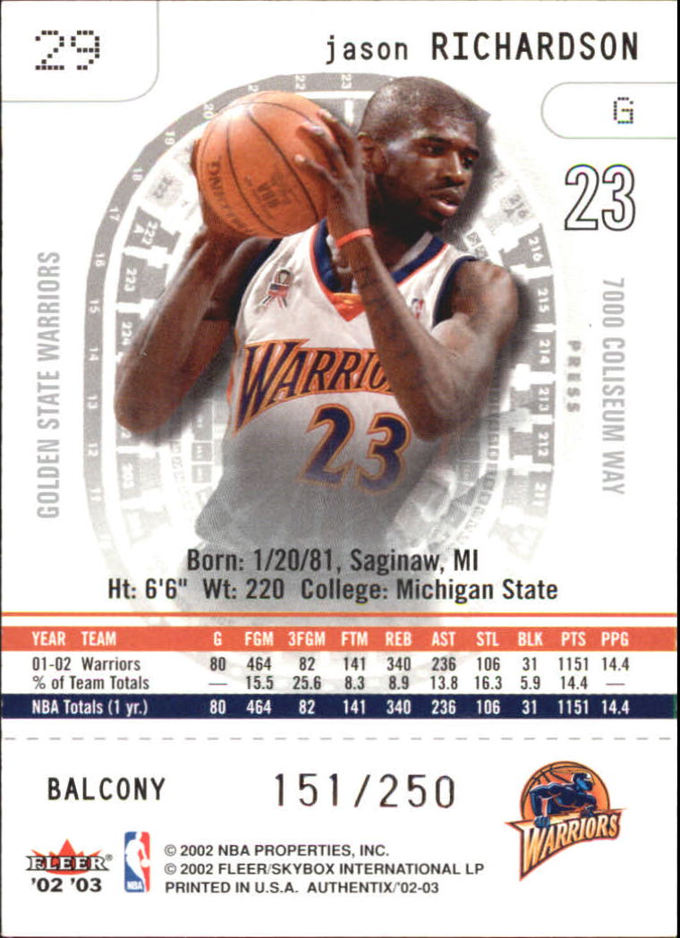 2002-03 Fleer Authentix Balcony #29 Jason Richardson back image