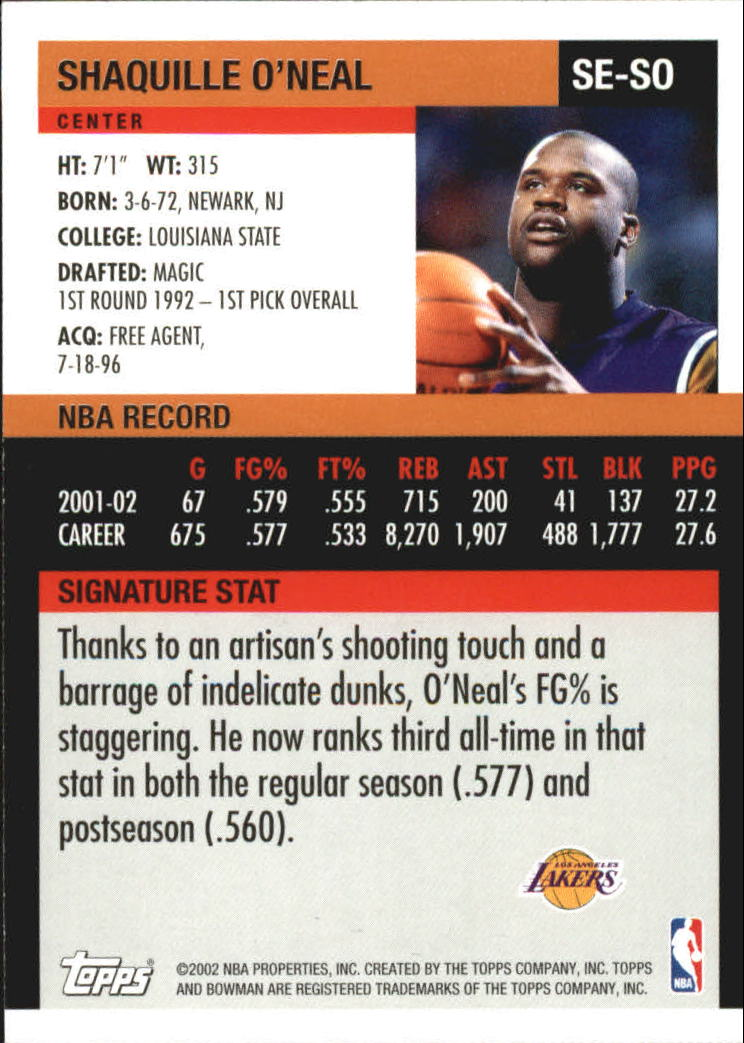2002-03 Bowman Signature Edition #SESO Shaquille O'Neal back image