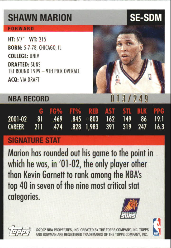 2002-03 Bowman Signature Edition Parallel #SESDM Shawn Marion back image