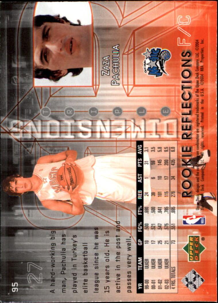 2003-04 Upper Deck Triple Dimensions #95 Zaur Pachulia RC back image