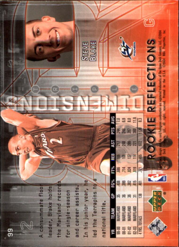 2003-04 Upper Deck Triple Dimensions #99 Steve Blake RC back image