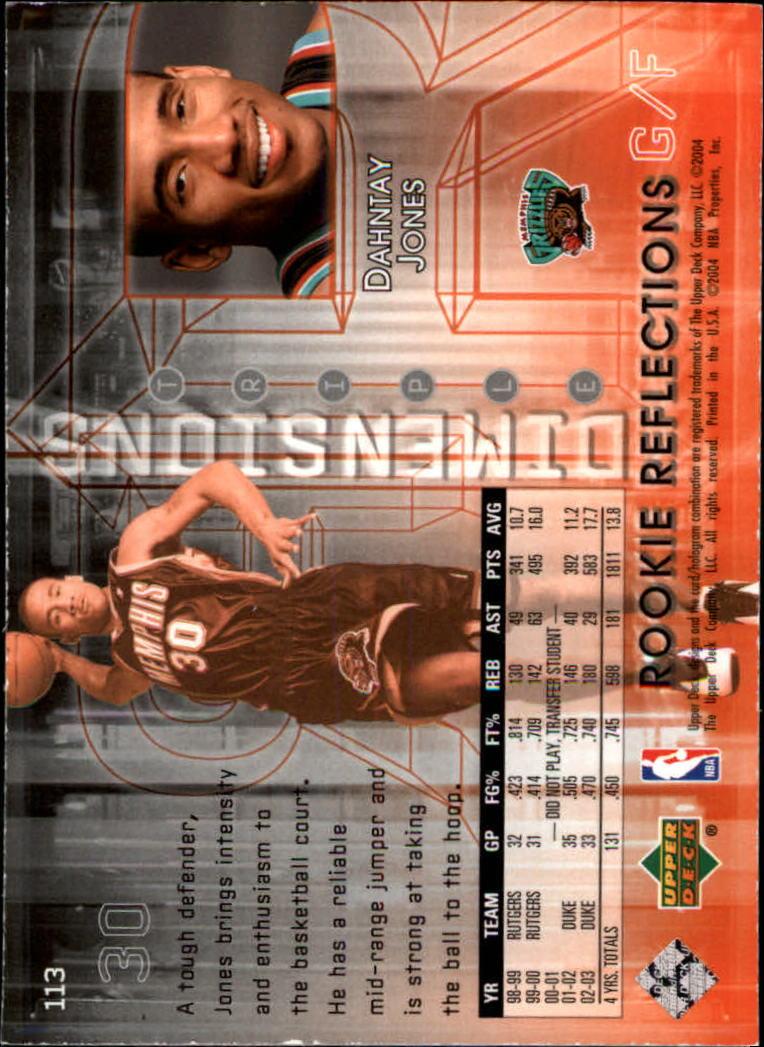 2003-04 Upper Deck Triple Dimensions #113 Dahntay Jones RC back image