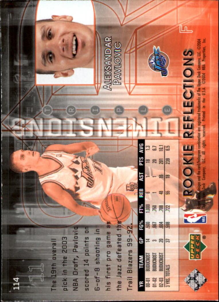 2003-04 Upper Deck Triple Dimensions #114 Aleksandar Pavlovic RC back image