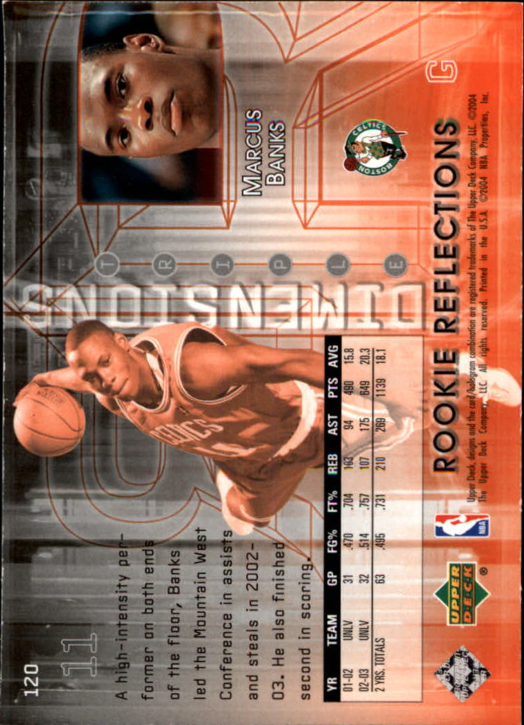 2003-04 Upper Deck Triple Dimensions #120 Marcus Banks RC back image