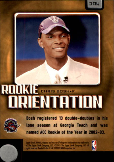 2003-04 Upper Deck Victory #104 Chris Bosh RC back image