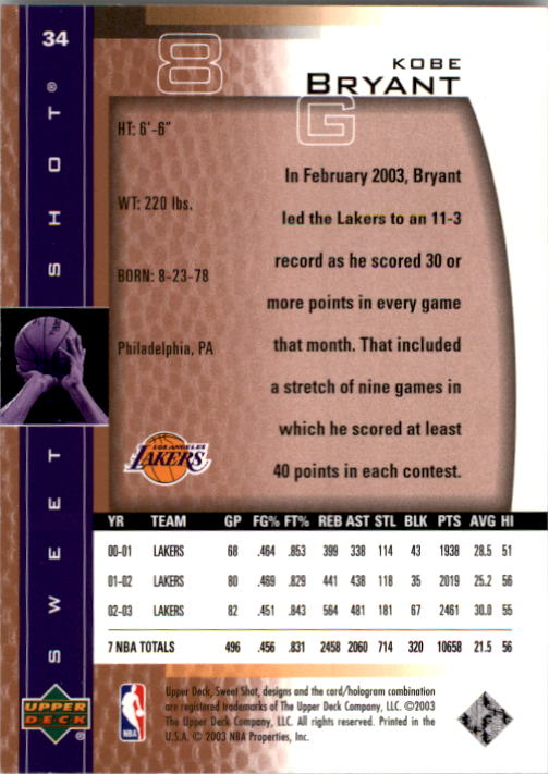 2003-04 Sweet Shot #34 Kobe Bryant back image