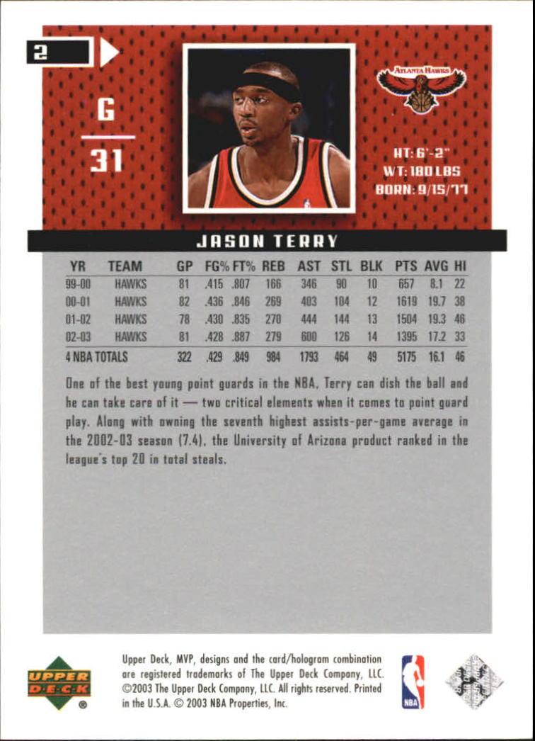2003-04 Upper Deck MVP Silver #2 Jason Terry back image