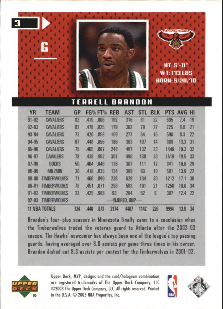 2003-04 Upper Deck MVP Silver #3 Terrell Brandon back image