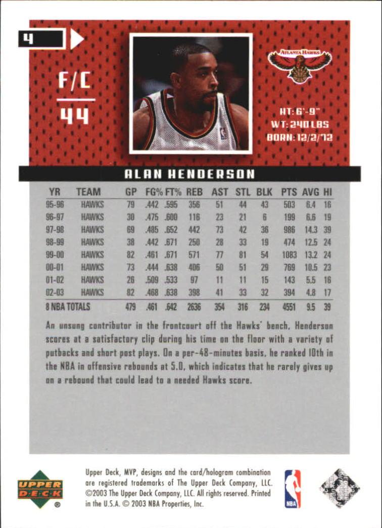 2003-04 Upper Deck MVP Silver #4 Alan Henderson back image