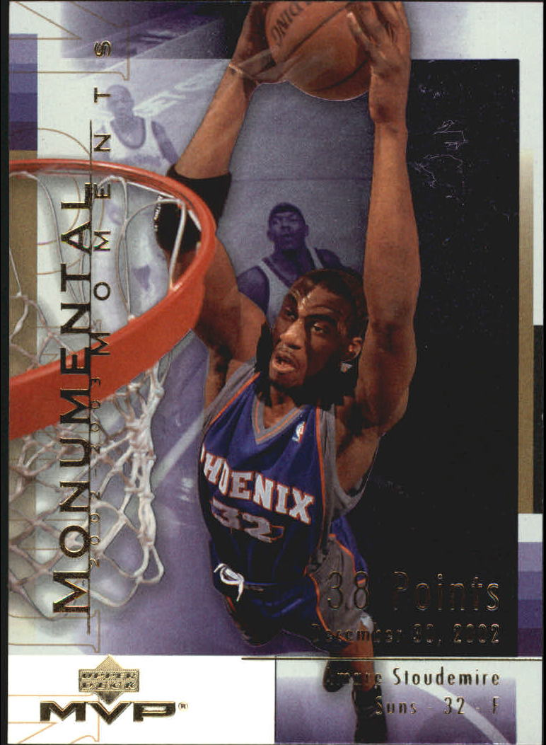 3922db95bcb 2003-04 Upper Deck MVP Monumental Moments Basketball Card  MM7 Amare  Stoudemire