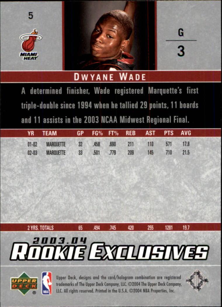 2003 04 Upper Deck Rookie Exclusives 5 Dwyane Wade Rc Nm Mt