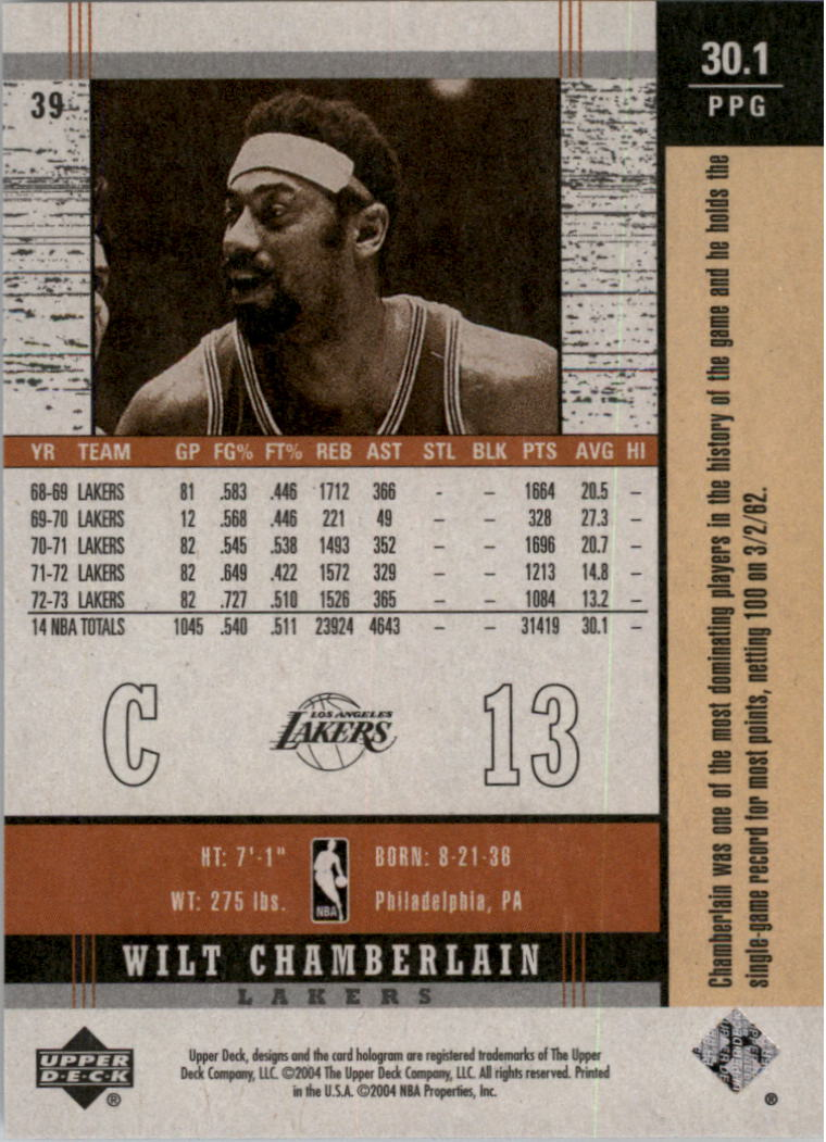 2003-04 Upper Deck Legends Throwback #39 Wilt Chamberlain back image