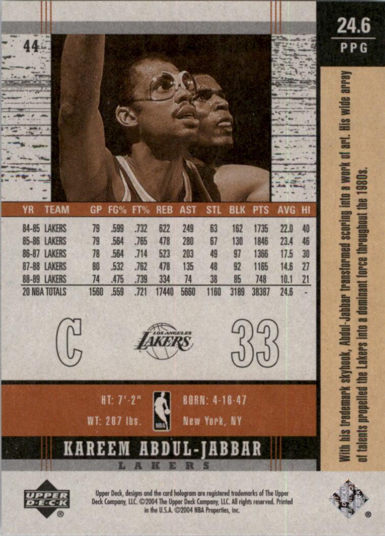 2003-04 Upper Deck Legends Throwback #44 Kareem Abdul-Jabbar back image