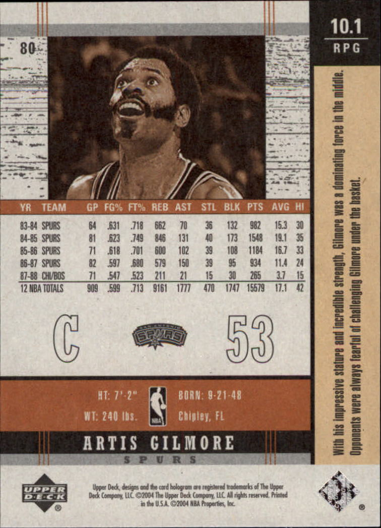 2003-04 Upper Deck Legends Throwback #80 Artis Gilmore back image