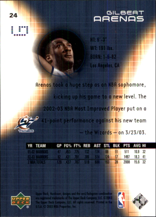 2003-04 Upper Deck Hardcourt #24 Gilbert Arenas back image