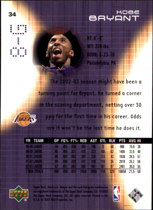 2003-04 Upper Deck Hardcourt #34 Kobe Bryant back image