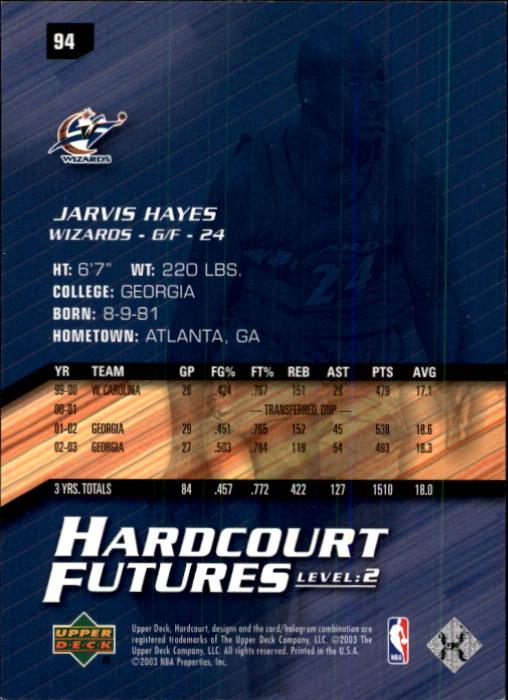 2003-04 Upper Deck Hardcourt #94 Jarvis Hayes RC back image