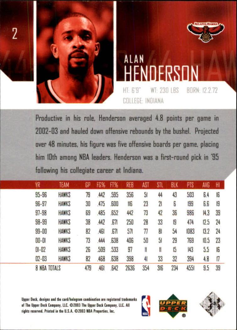 2003-04 Upper Deck #2 Alan Henderson back image