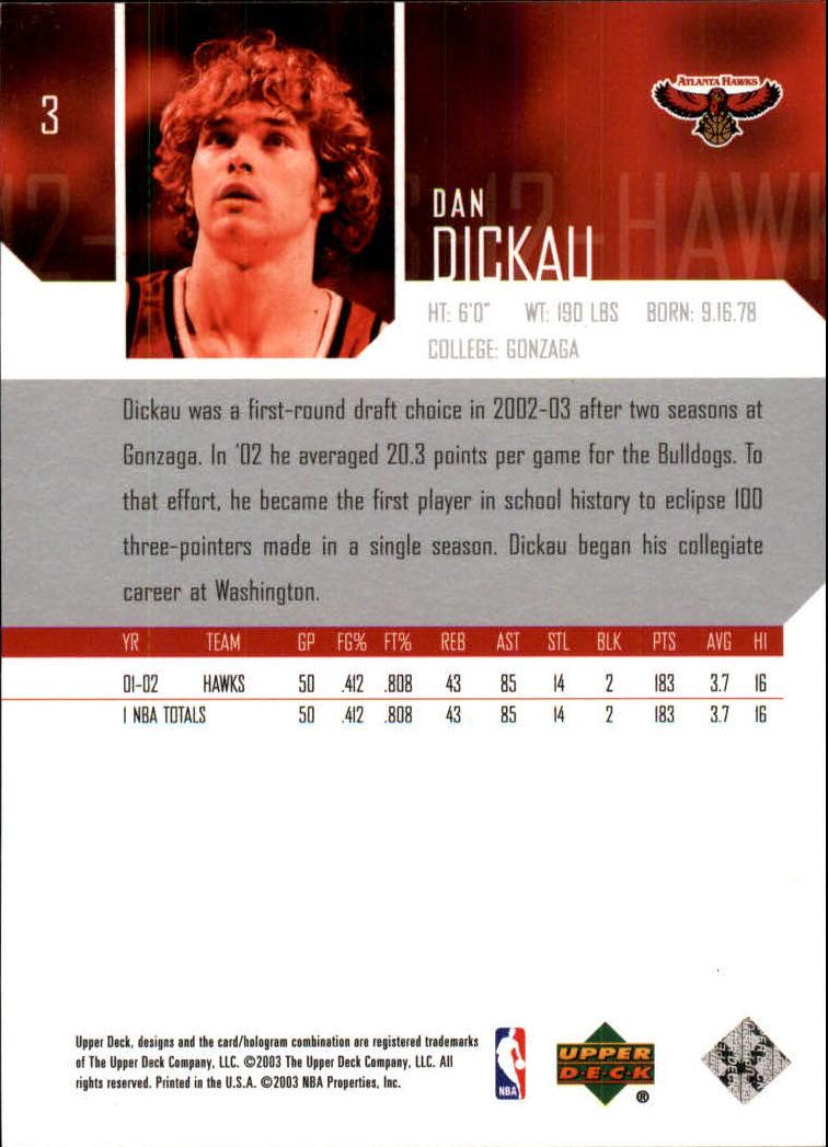 2003-04 Upper Deck #3 Dan Dickau back image