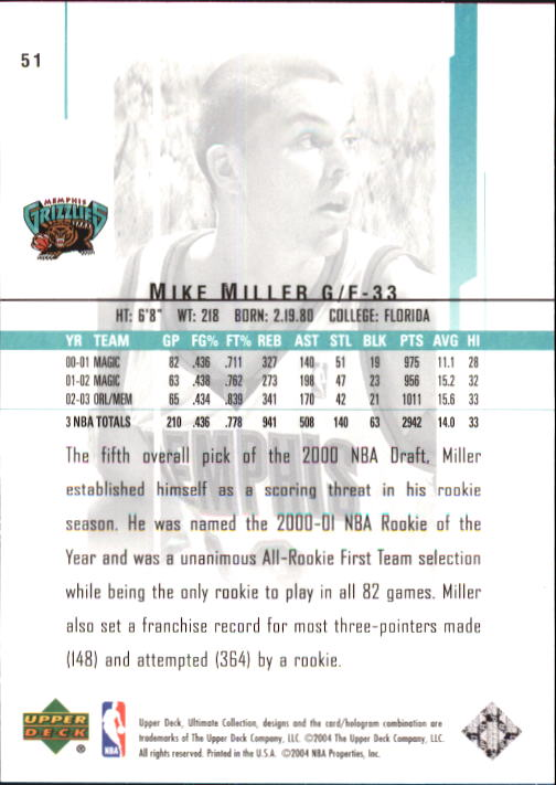 2003-04 Ultimate Collection #51 Mike Miller back image