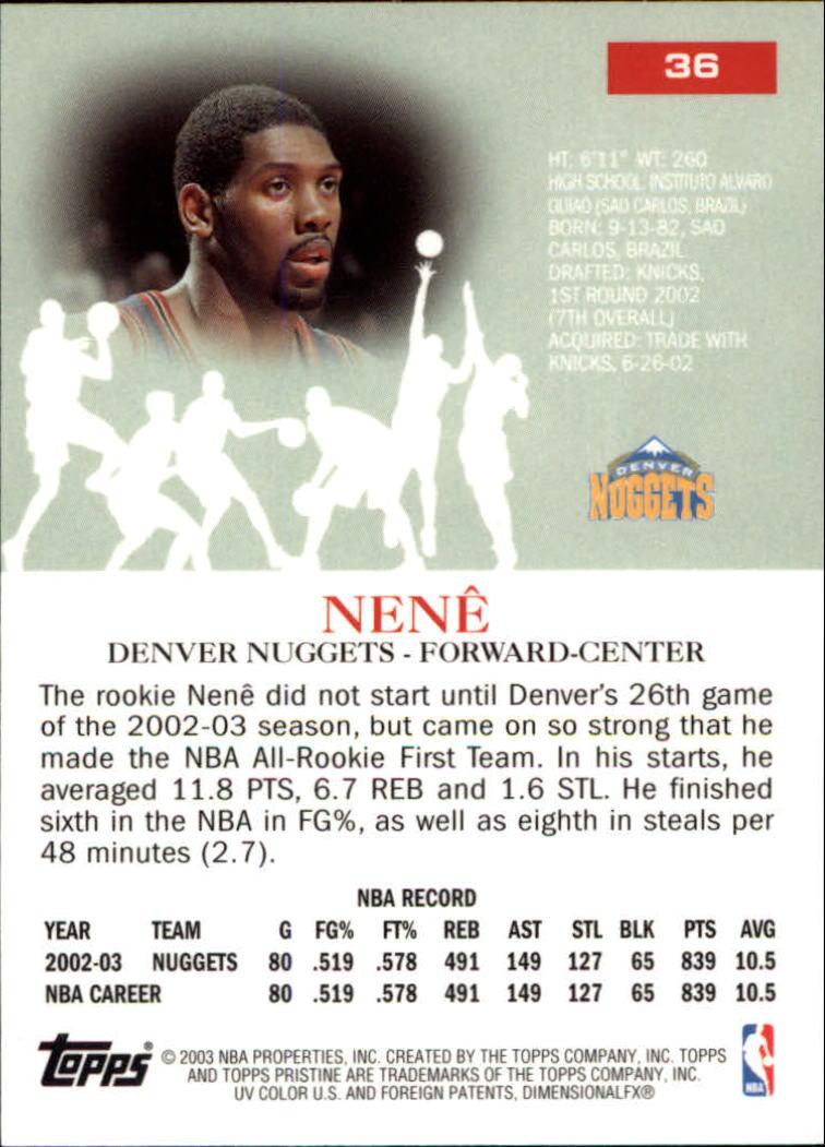 2003-04 Topps Pristine #36 Nene back image