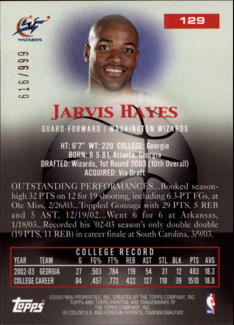 2003-04 Topps Pristine #129 Jarvis Hayes U back image
