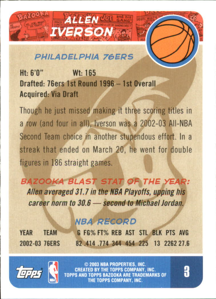 2003-04 Bazooka Parallel #3A Allen Iverson back image