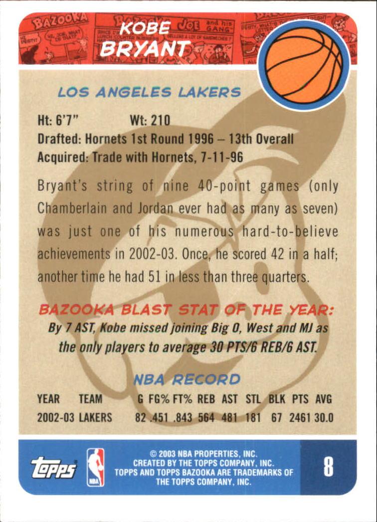 2003-04 Bazooka Parallel #8 Kobe Bryant back image