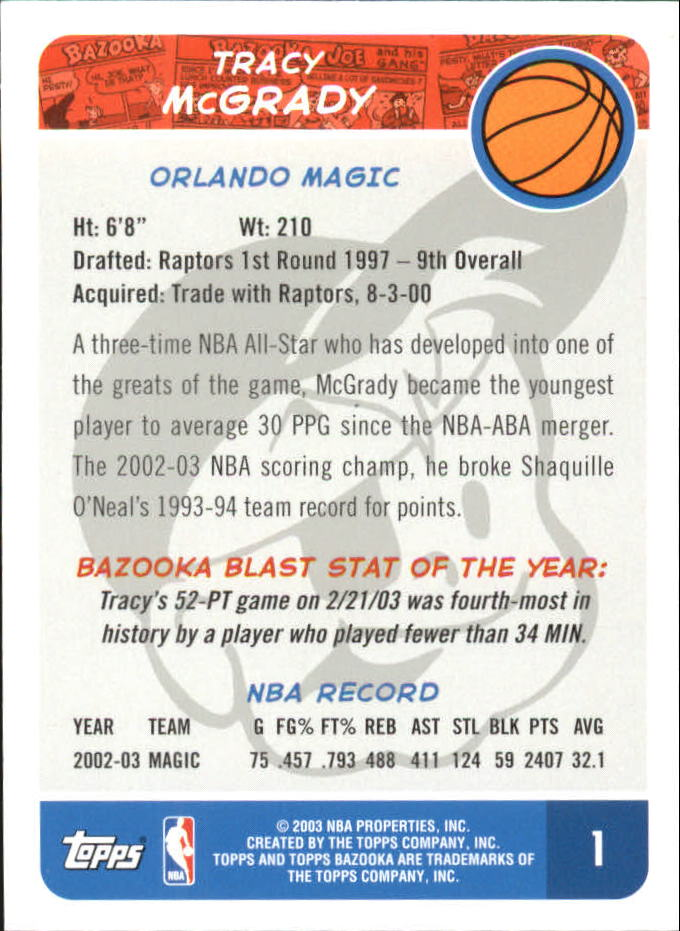 2003-04 Bazooka Mini #1A Tracy McGrady back image