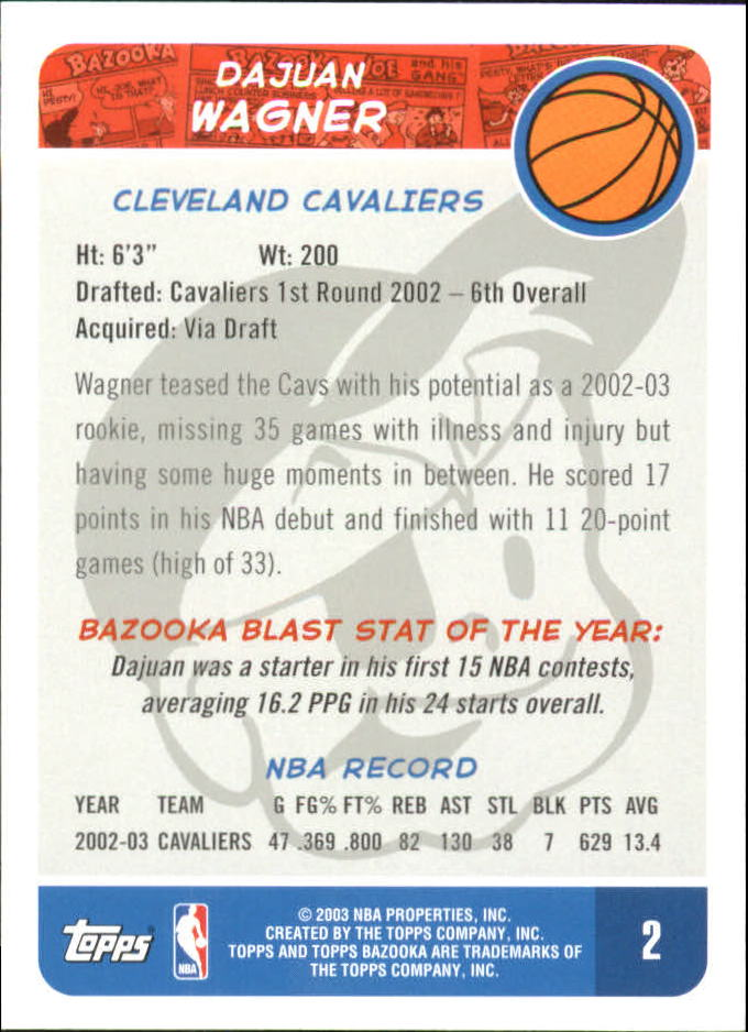 2003-04 Bazooka Mini #1B Tracy McGrady back image