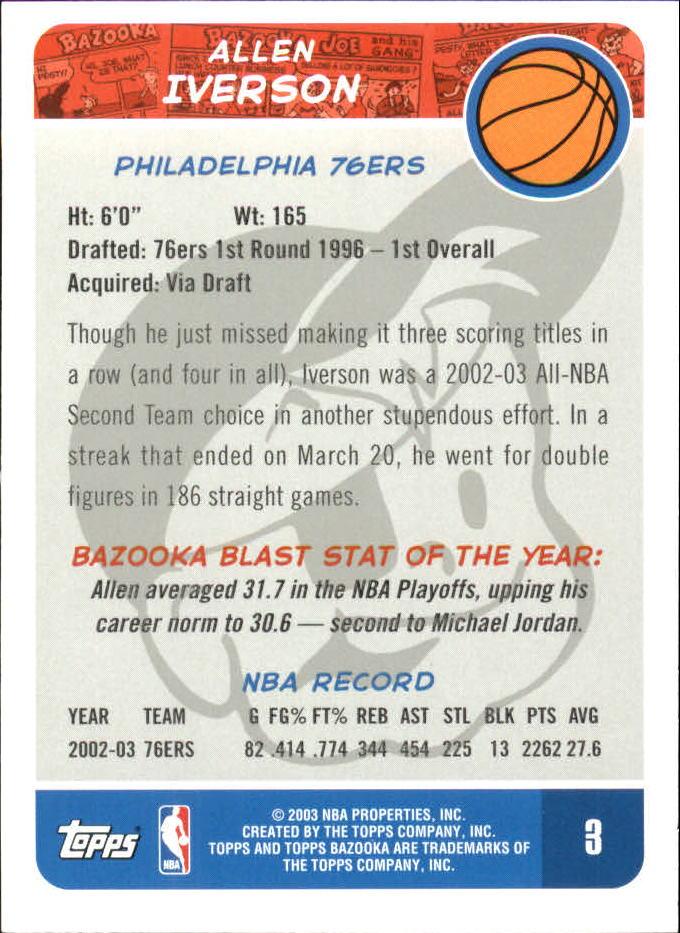 2003-04 Bazooka Mini #2 DaJuan Wagner back image
