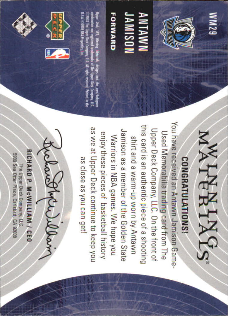 2003-04 SPx Winning Materials #WM29 Antawn Jamison back image