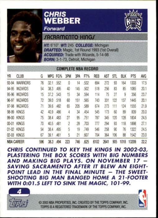 2003-04 Topps #4 Chris Webber back image